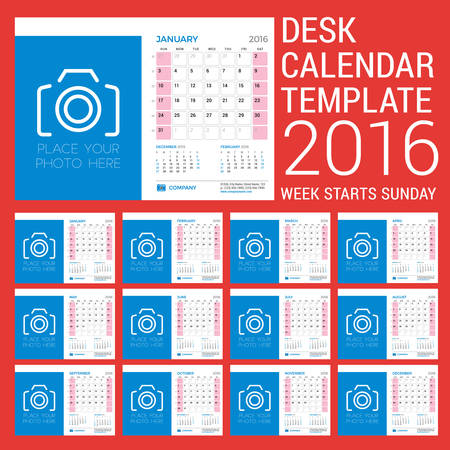 months of the year: Desk Calendar for 2016 Year. Vector Stationery Design Template. Week Starts Sunday. 3 Months on Page