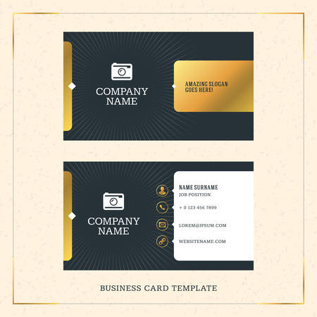 stationery: Modern Creative Golden Business Card Vector Template. Vector Illustration. Stationery Design. Gold and Black