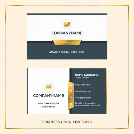 visit card: Modern Creative Golden Business Card Vector Template. Vector Illustration. Stationery Design. Gold and Black