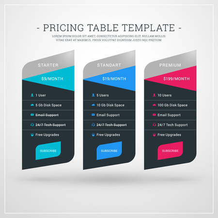 advertising column: Design Template for Pricing Table for Websites and Applications. Flat Style UI. Vector Illustration