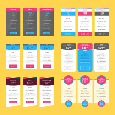 advertising column: Set of Pricing Table Design Templates for Websites and Applications. Flat Style Vector Illustration Illustration