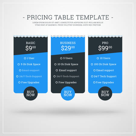 advertising column: Vector Design Template for Pricing Table for Websites and Applications. Flat Design Vector Illustration