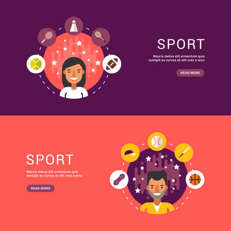 sportsman: Vector Illustrations in Flat Design Style. Sport Icons and Sportsman Cartoon Character in Circle. Summer Sports