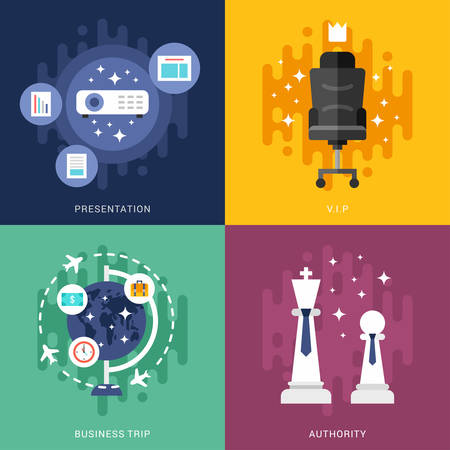 authority: Set of Business Concepts. Presentation, VIP, Business Trip, Authority. Vector Illustration in Flat Design Style
