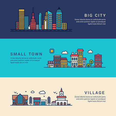 real estate planning: Big City, Small Town and Village. Flat Style Line Art Vector Conceptual Illustration for Web Banners or Promotional Materials