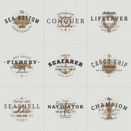 pulpo: Conjunto de etiquetas de la vendimia del inconformista, logotipos, placas para tu negocio. Tema náutico - mar, ancla, pulpo, Barco, pescado, Shell. Ilustración del vector Vectores