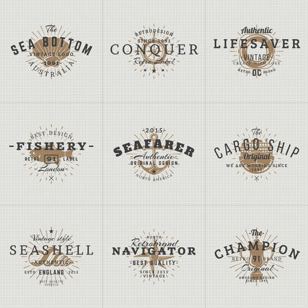 anchor background: Set of Hipster Vintage Labels, Logotypes, Badges for Your Business. Nautical Theme - Sea, Anchor, Octopus, Ship, Fish, Shell. Vector Illustration Illustration