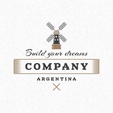 Windmill. Vintage Retro Design Elements for Logotype, Insignia, Badge, Label. Business Sign Template. Textured Background