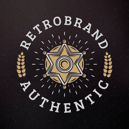 sheriff badge: Sheriff Badge. Vintage Retro Design Elements for Logotype, Insignia, Badge, Label. Business Sign Template. Textured Background