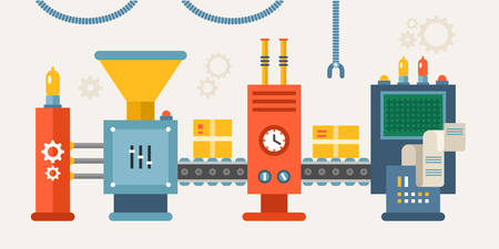 Conveyor System with Manipulators. Flat Style Vector illustration Vectores