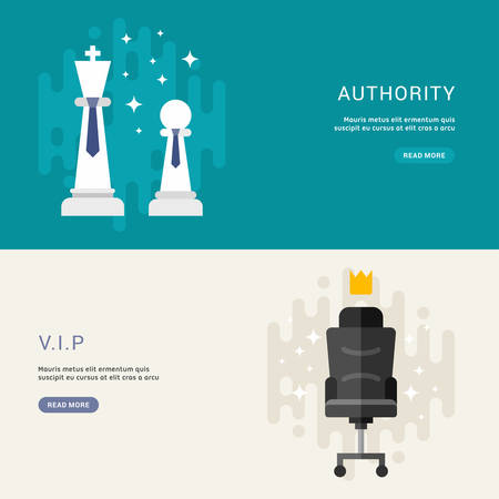 authority: Set of Business Concepts for Web Banners. VIP, Authority. Vector Illustration in Flat Design Style