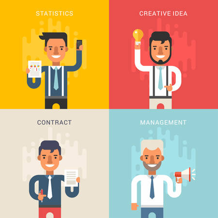 busy office: Set of Business Concepts with Businessman Cartoon Characters. Statistics, Creative Idea, Contract, Management. Vector Illustration in Flat Design Style