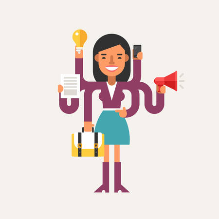 Businessman with Multitasking Skill. Business Concept. Flat Style Vector Illustration. Female Cartoon Character