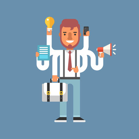 Businessman with Multitasking Skill. Business Concept. Flat Style Vector Illustration