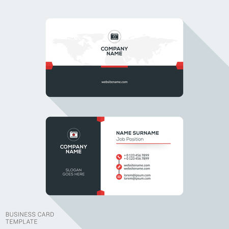 business card template: Creative and Clean Corporate Business Card Template. Flat Design Vector Illustration. Stationery Design