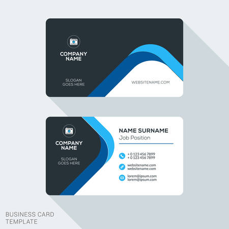 Creative and clean corporate business card template flat design creative and clean corporate business card template flat design vector illustration stationery design stock wajeb Image collections