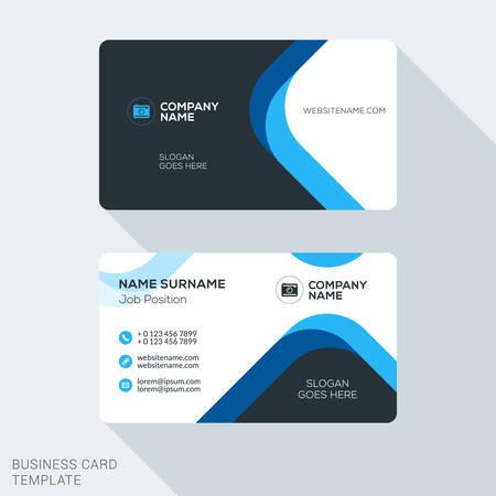 創造的でクリーンな企業のビジネス カードのテンプレートです。フラットなデザインのベクトル図です。文具デザイン