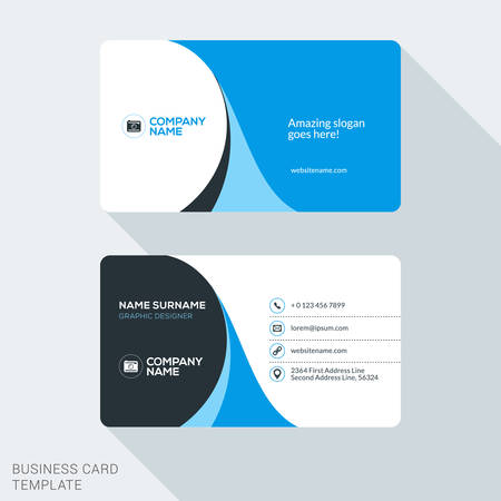 business card layout: Creative and Clean Corporate Business Card Template. Flat Design Vector Illustration. Stationery Design