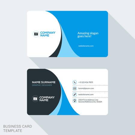 Modèle de carte de visite d'entreprise Creative and Clean. Flat Vector Design Illustration. Papeterie Conception