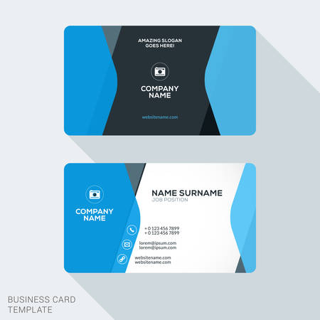 office stationery: Creative and Clean Corporate Business Card Template. Flat Design Vector Illustration. Stationery Design