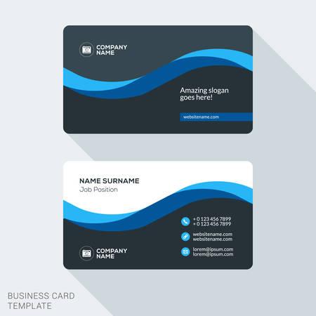 크리에이티브 및 청소 기업 비즈니스 카드 템플릿입니다. 플랫 디자인 벡터 일러스트 레이 션. 문구 디자인