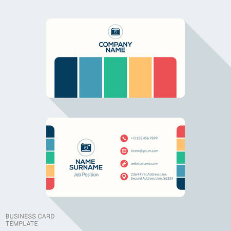 web address: Creative and Clean Corporate Business Card Template. Flat Design Vector Illustration. Stationery Design