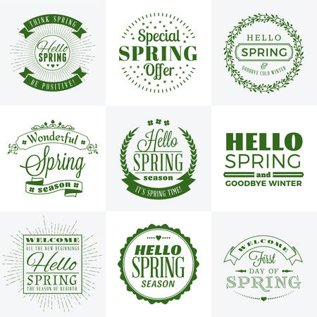 hello: Set of Spring Vintage Typographic Badges. Vector Illustration. Hello Spring. Greeting Card Design