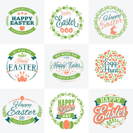 greeting: Set of Vector Happy Easter Label Elements. Vintage Holiday Badges. Vector Templates for Greeting Card