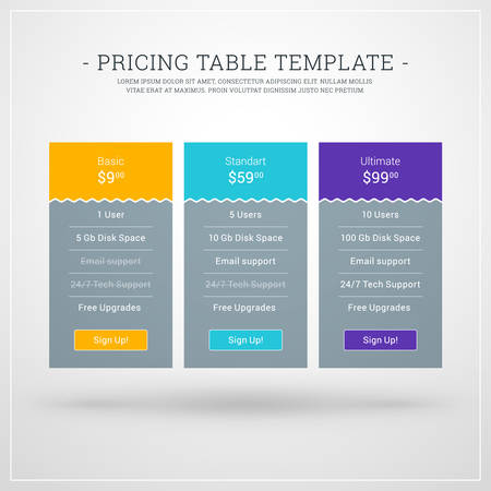 featured: Design Template for Pricing Table for Websites and Applications. Flat Style UI. Vector Illustration
