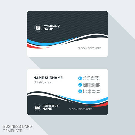 Creative and Clean Business Card Template. Flat Design Vector Illustration. Stationery Design  イラスト・ベクター素材