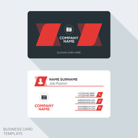 identification card: Creative and Clean Business Card Template. Flat Design Vector Illustration. Stationery Design Illustration