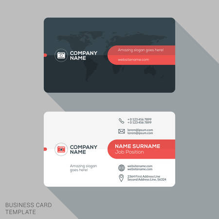 business media: Creative and Clean Business Card Template. Flat Design Vector Illustration. Stationery Design Illustration