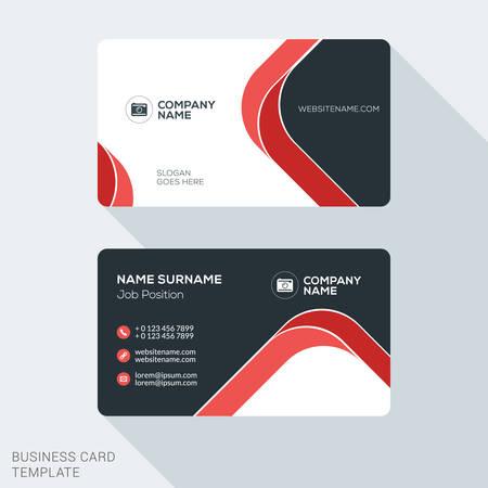 бизнес: Творческий и чистой визитной карточки. Плоский дизайн векторной иллюстрации. Канцелярские товары Дизайн Иллюстрация