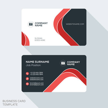 Creative and Clean Business Card Template. Flat Design Vector Illustration. Stationery Design Zdjęcie Seryjne - 52453922