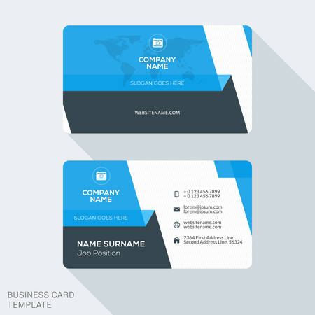 Creative and Clean Business Card Template. Flat Design Vector Illustration. Stationery Design Illustration