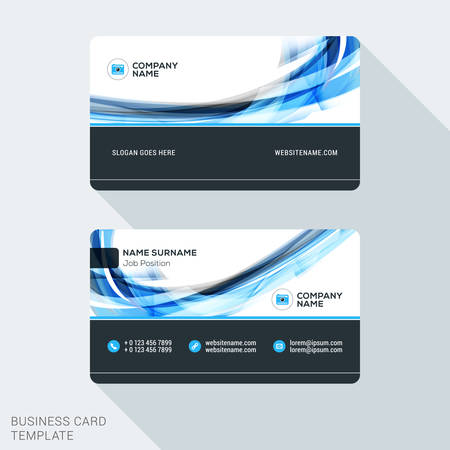 Creative and Clean Business Card Template. Flat Design Vector Illustration. Stationery Design Фото со стока - 52453927