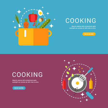 headline: Cooking Concept. Fried Eggs in a Frying Pan. Soup in the Pan. Set of Templates for Web Banners with Headline and Button. Vector Illustration in Flat Design Style Illustration