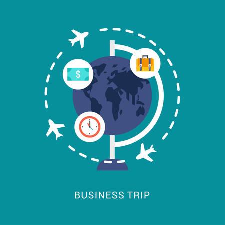 Geschäftskonzept. Geschäftsreise. Vektor-Illustration in Flat Design Style. Globe mit Flat-Art-Ikonen und Flugzeug