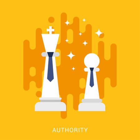 authority: Business Concept. Authority. Vector Illustration in Flat Design Style. Chess Figures with Ties