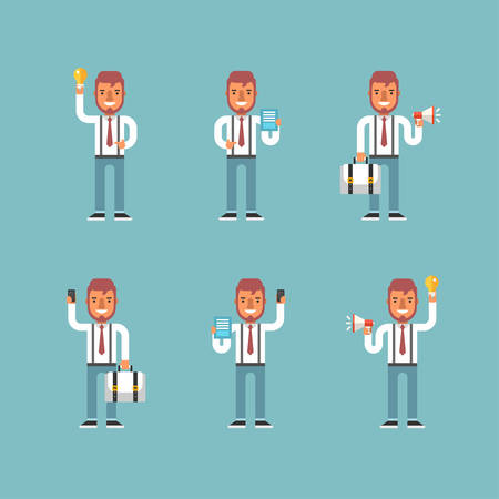 emotions: Cartoon Character Set of Businessman in Various Poses. Flat Style Vector Illustration Illustration