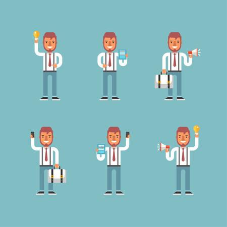 the emotions: Personaje de dibujos animados Conjunto de hombre de negocios en varias poses. Piso Ilustraci�n del vector del estilo