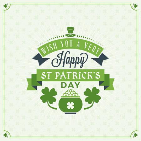 Dzień św Patryka vintage wakacje Odznaka projektu. Vector Pozdrowienia karty wzorów. Saint Patricks Day tła. Szczęśliwy Saint Patricks Day Ilustracje wektorowe
