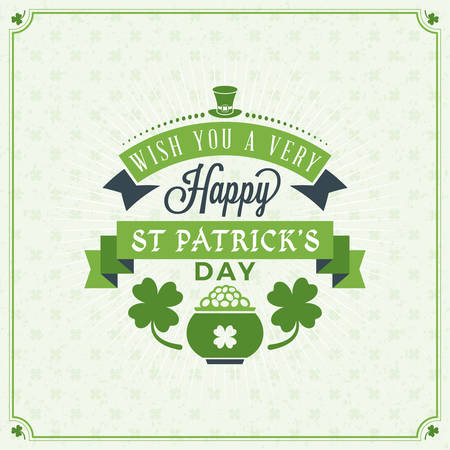 patrick day: St. Patricks Day Vintage Holiday Badge Design. Vector Greetings Card Design. Saint Patricks Day Background. Happy Saint Patricks Day