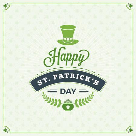 St. Patricks Day Vintage Holiday Badge Design. Vector Greetings Card Design. Saint Patricks Day Background. Happy Saint Patricks Day