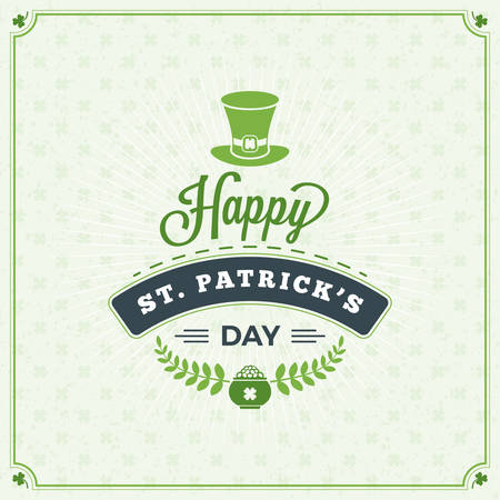 st  patrick: St. Patricks Day Vintage Holiday Badge Design. Vector Greetings Card Design. Saint Patricks Day Background. Happy Saint Patricks Day