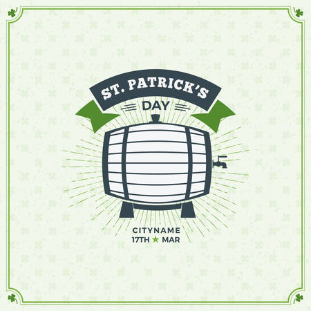 irish beer label: St. Patricks Day Vintage Holiday Badge Design. Vector Greetings Card Design. Saint Patricks Day Background. Happy Saint Patricks Day