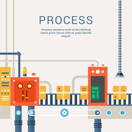 Conveyor System with Manipulators. Flat Style Vector Illustration
