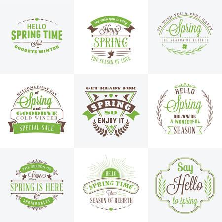 Set of Spring Vintage Typographic Badges. Vector Illustration. Hello Spring. Greeting Card Design