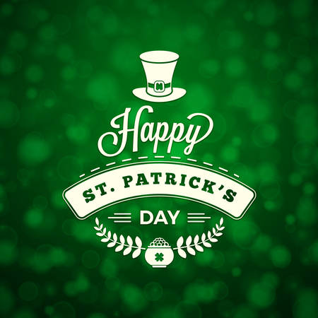irish beer label: St. Patricks Day Holiday Badge Design. Vector Greetings Card Design. Saint Patricks Day Background. Happy Saint Patricks Day
