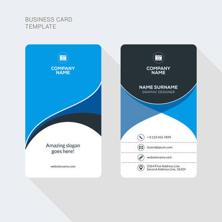 Modern Creative and Clean Two Sided Business Card Template. Flat Style Vector Illustration. Vertical Visiting or Business Card Template. Stationery Design Vectores